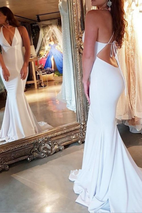 Charming Mermaid V Neck Open Back Spaghetti Straps White Long Prom Dresses, Elegant Evening Dresses