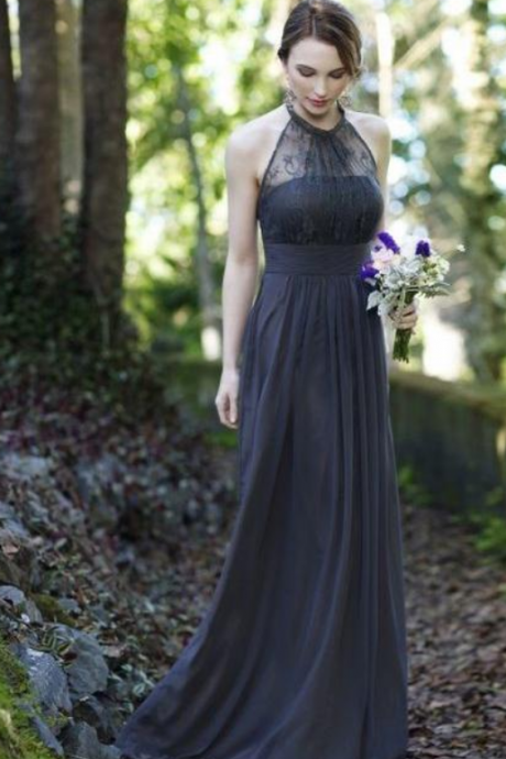 Chic Chiffon Lace Halter Long Bridesmaid Dress