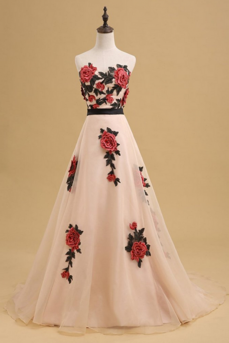 Sweetheart Hand Made Flower A-line Long Evening Prom Dresses