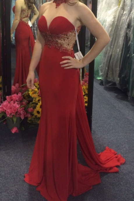 Beaded Red Illusion High Neck Fitted Jersey Prom Dress, Evening Gown Cut Out Waist,Party Dresses,