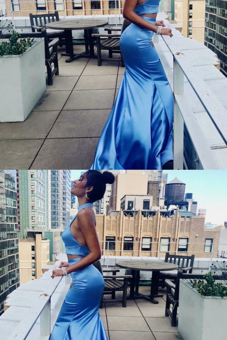 Two Piece Mermaid High Neck Long Blue Prom Dress with Ruffles