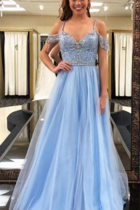 New Sexy A Line Prom Dresses evening dresses Off Shoulder Capped Sleeves Lace Aplliques Long Formal Party Evening Gowns