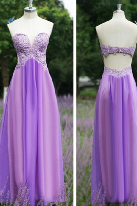 Purple Long Chiffon Prom Dresses Sweetheart neck Crystals Beaded Floor Length Party Dress Custom Made Women Dress