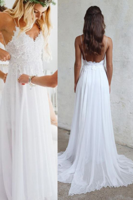 A line Chiffon Sweetheart Wedding Dresses, Spaghetti Straps White Backless Sleeveless Beach Wedding Gowns, Wedding Dresses