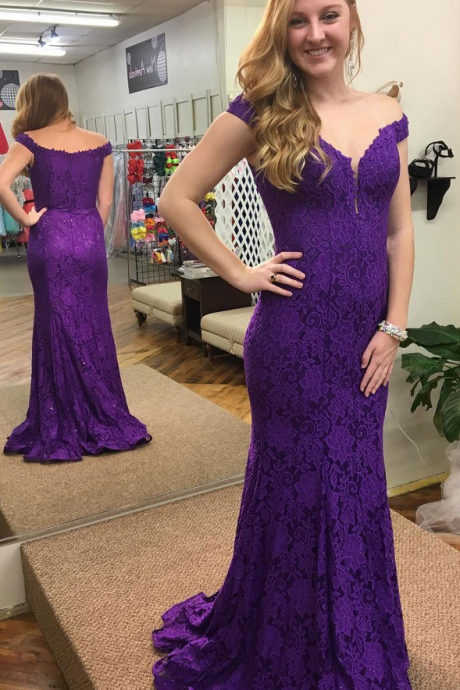 Charming Off the Shoulder Prom Dresses,Mermaid Purple Prom Dresses,Lace Long Prom Dresses