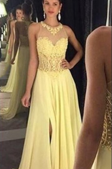 Prom Dresses,A-line Prom Dresses,Applique Prom Dresses,Split Prom Dresses,Yellow Prom Dresses,Evening Dresses,Party Dresses