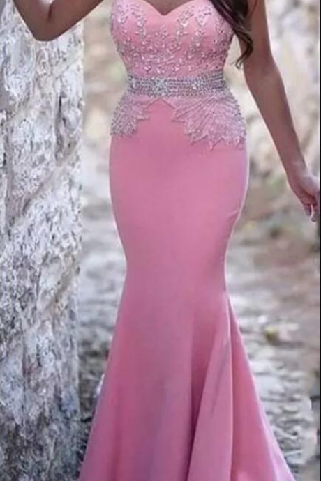 Pink Sexy Cheap Long Mermaid Prom Dresses Sweetheart Beaded Crystals Evening Gowns