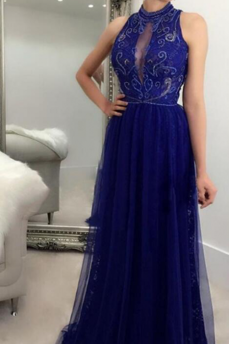 elegant royal blue tulle prom dress with beading, fashion round neck royal blue party dress with beading
