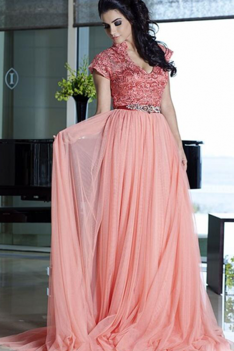 Lace A-Line Long Elegant Evening Dress,Tulle Prom Dress