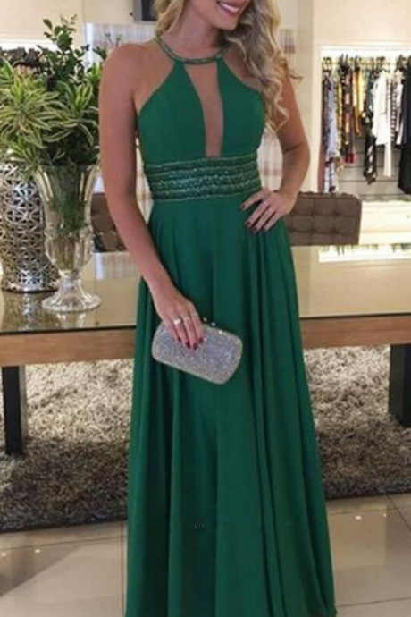 Charming A Line Halter Cross Back Chiffon Green Long Prom Dresses with Beading, Elegant Evening Dresses