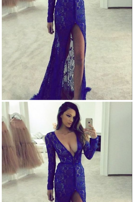 modest royal blue v neck prom dresses with sleeves, unique lace plunging party dresses with slit, gorgeous long sleeves lace evening gowns