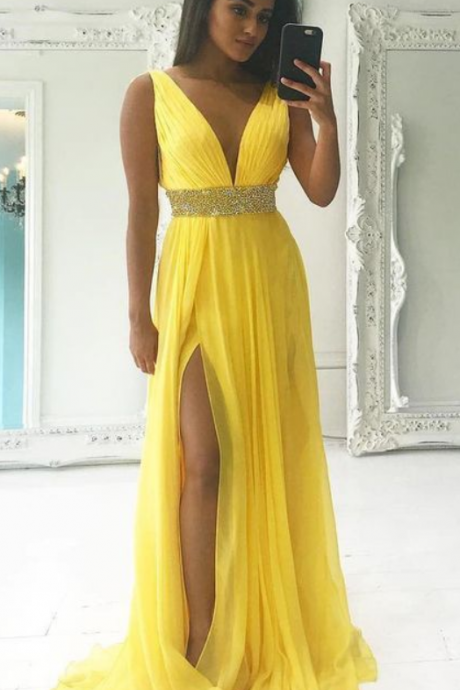 Sexy Yellow Prom Dresses Featuring Deep V Neck And Side Split, Sexy Chiffon Evening Dresses, Formal Gowns