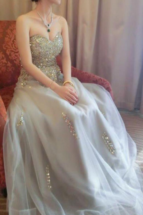 Beautiful Prom Dresses Sweetheart A line Beading Prom Dress Sexy Evening Dress