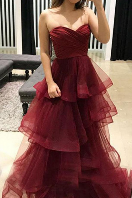 Simple burgundy sweetheart neck tulle long prom dress, burgundy evening dress
