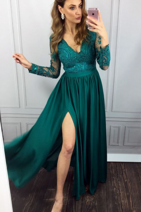 elegant green long sleeves prom party dresses split, fashion v-neck formal evening gowns with special lace