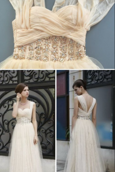 Light Champagne Prom Dress,Modest Prom Gown,Straps Prom Gowns,Beaded Evening Dress