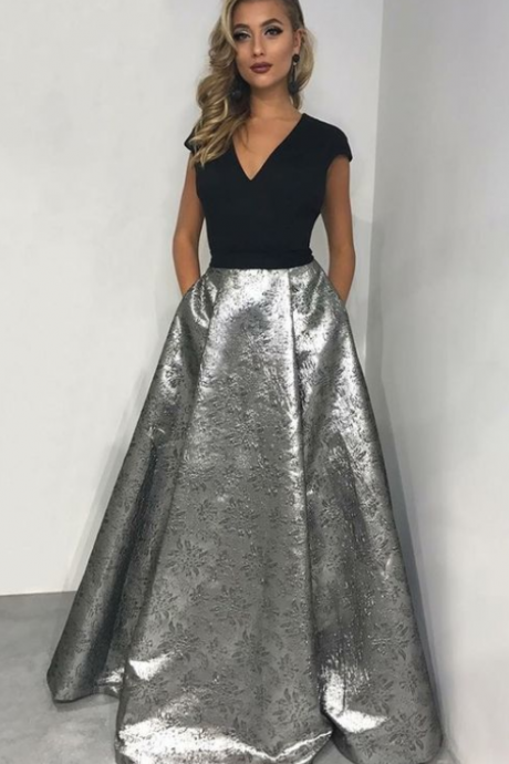 A-Line V-neck Floor-Length Metallic Printed Satin Prom Dress with Pockets