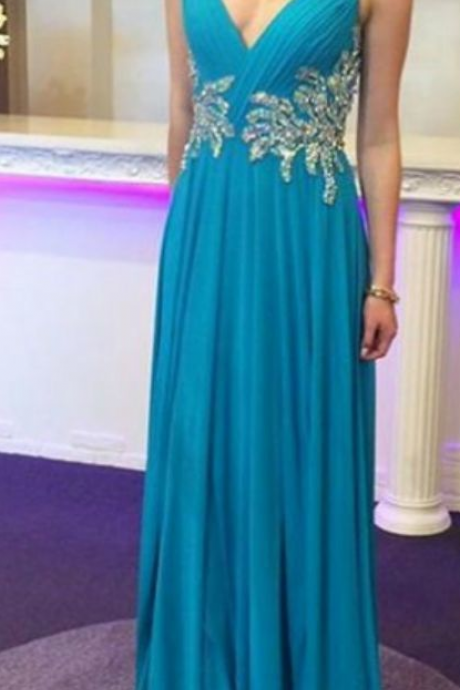 Sexy V Neck Blue Chiffon Prom Dresses A-line Beaded Appliques Long Graduation Party Dresses Open Back Sexy Formal Gowns