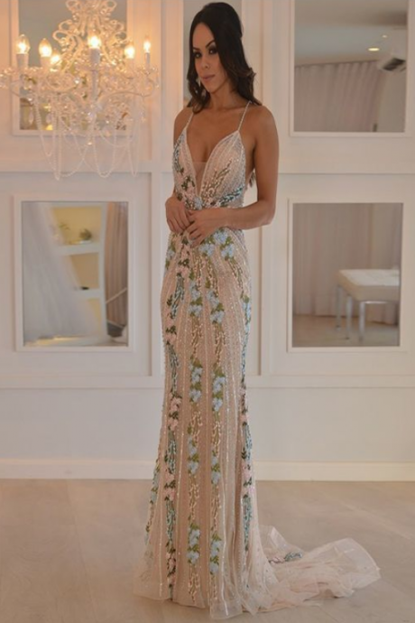 New Arrival Mermaid Spaghetti Straps Floor Length Prom Dresses,Sexy Open Back Prom Dresses With Appliques,