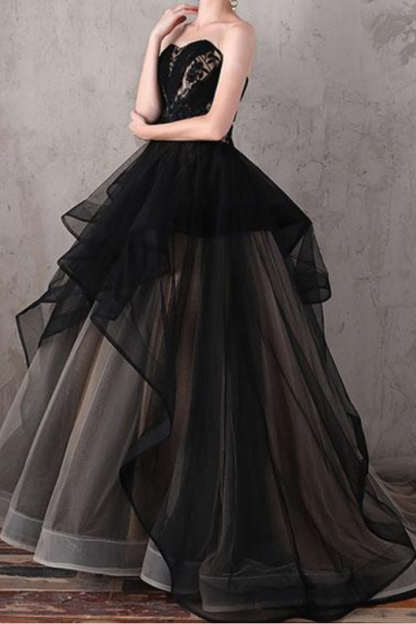Unique black sweetheart neck long prom dress, evening dress