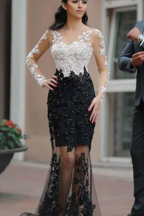 Chic White Black Lace See Through Long Sleeves Mermaid Prom Dresses Formal Evening Dress