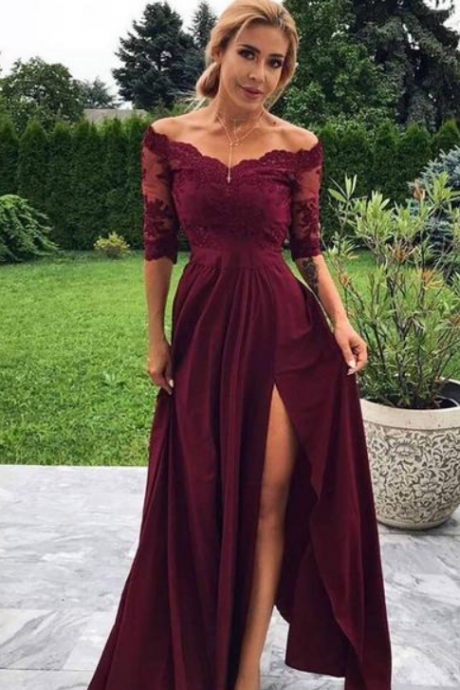 Burgundy lace long prom dress, burgundy evening dress 3/4 sleeves side slit formal party gowns