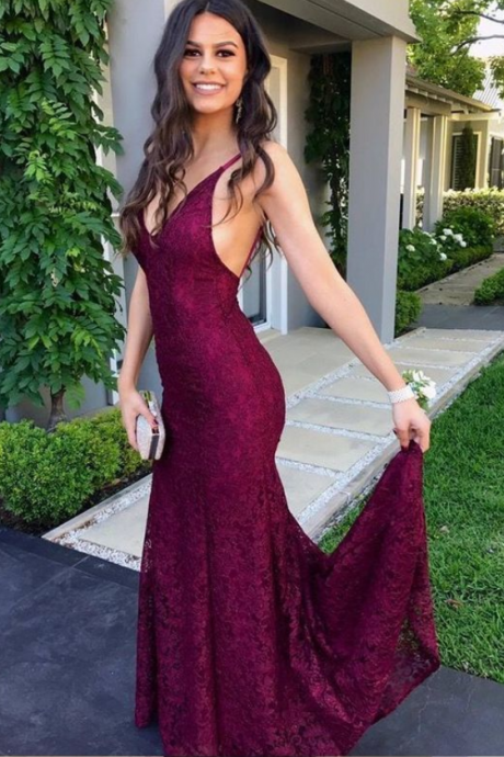 simple burgundy lace prom dresses, elegant mermaid backless wedding party dresses, modest criss cross straps evening dresses