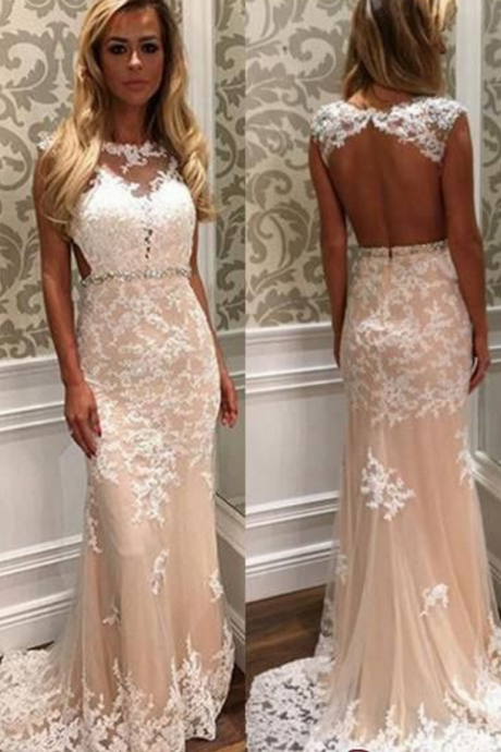 Champagne Evening Dress, Mermaid Evening Dress, Lace Applique Evening Dress, Elegant Evening Dress, Backless Evening Dress, Ivory Evening Dress