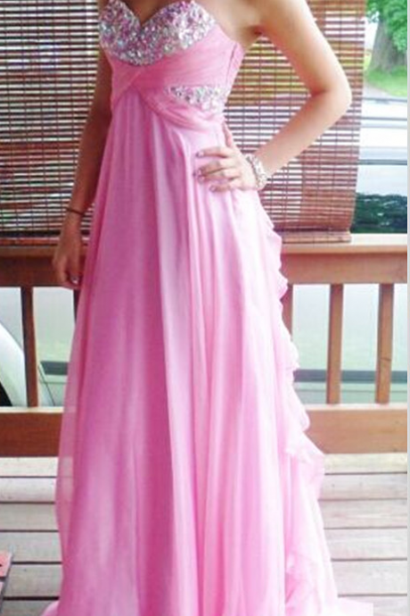 A-line Prom Dresses,Chiffon Prom Dress,Sexy Party Dress,Chiffon Formal Gowns,Beaded Prom Dresses,Sweetheart Prom Dresses