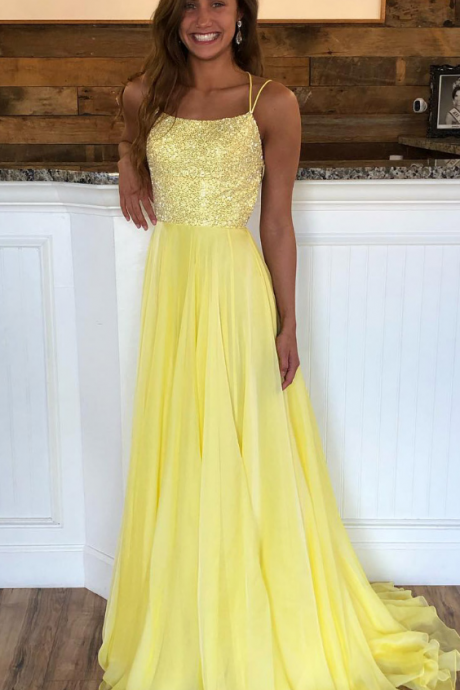 Sexy Sleeveless Yellow A Line Prom Dress with Beaded, Backless Long Evening Dress