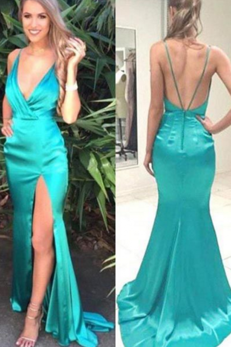 Green Sheath Deep V-Neck Jade Split Long Prom Dresses With Sweep Train
