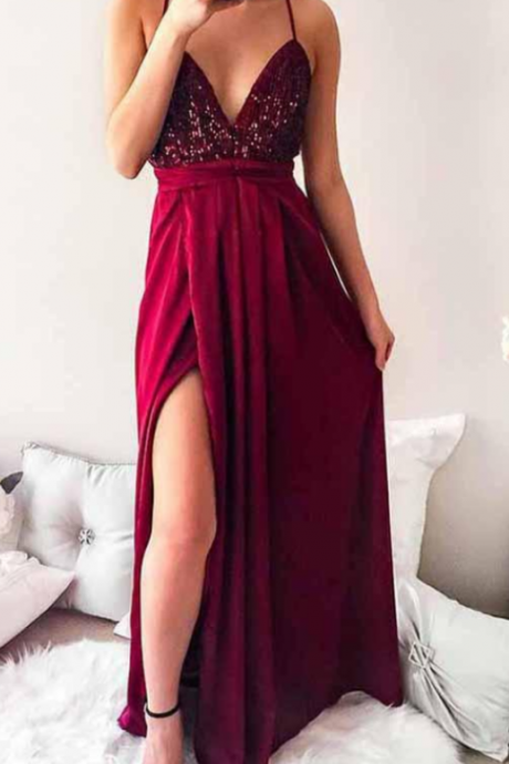 Dark Red Spaghetti Straps Pleated Prom Dresses,Long Prom Dress with Sequins, Party Dress,Prom Gowns,A-line evening dress
