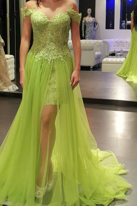 Light Green Lace Off-The-Shoulder Floor Length Tulle A-Line Formal Dress, Prom Dress