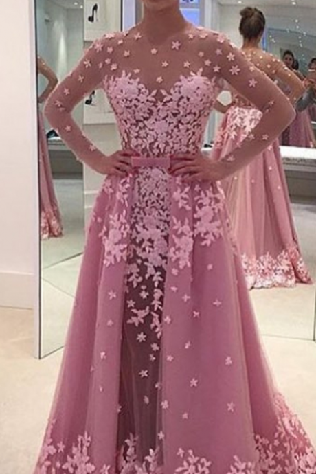 Sexy Evening Dress,Long Sleeve Sheer Back Prom Dress,Lace Evening Dress,Formal Dress