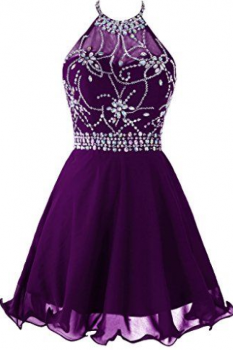 Purple Homecoming Dresses,Rhinestone Homecoming Dresses,Chiffon Homecoming Dresses,Juniors Homecoming Dresses