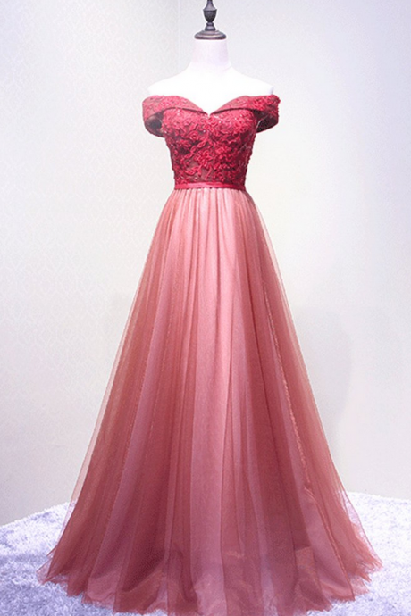 Off-the-shoulder Sweetheart A-line Floor-length Evening Dress with Lace Appliqués and Lace-Up Back