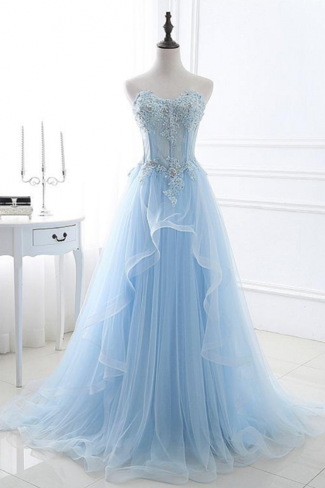 In Stock Eye-catching Tulle Sweetheart Neckline A-line Prom Dresses With Lace Appliques & Beadings