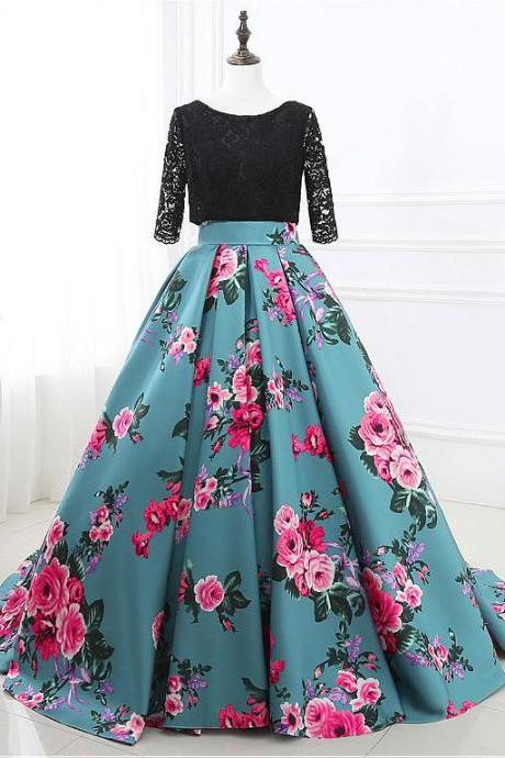 In Stock Special Lace & Floral Cloth Scoop Neckline 3/4 Length Sleeves Backless Ball Gown Prom Dress