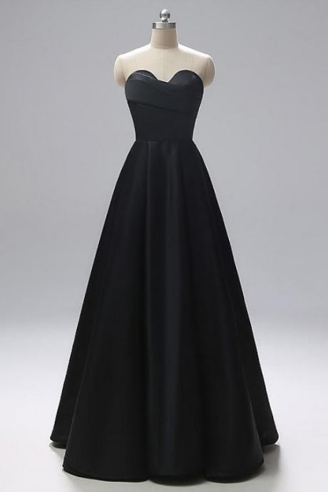 In Stock Eye-catching Satin Sweetheart Neckline A-line Evening Dresses