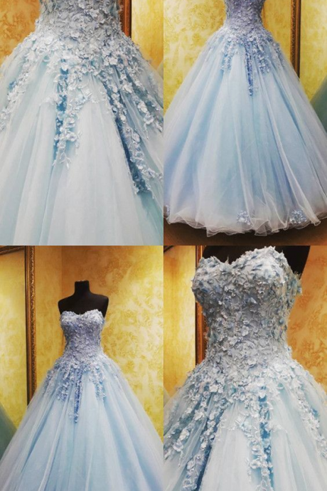 Charming Tulle Appliques Ball Gown Prom Dresses, Blue Quinceanera Dresses