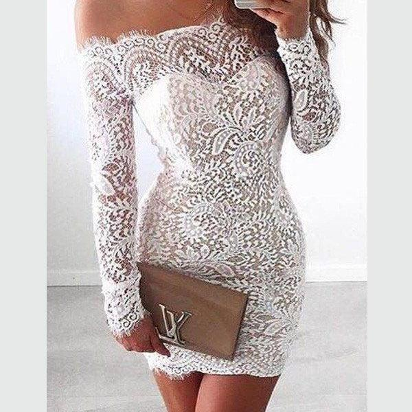 White Homecoming Dress,Lace Off shoulder Long Sleeves Homecoming Gowns