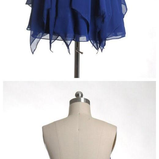 Royal Blue Short Chiffon Homecoming Dresses with Crystals, Mini Party Dresses