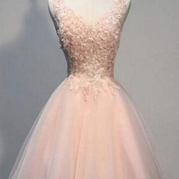 Pink Lace Homecoming Dresses, V-Neck Homecoming Dresses, Tulle Homecoming Dresses, Cute Homecoming