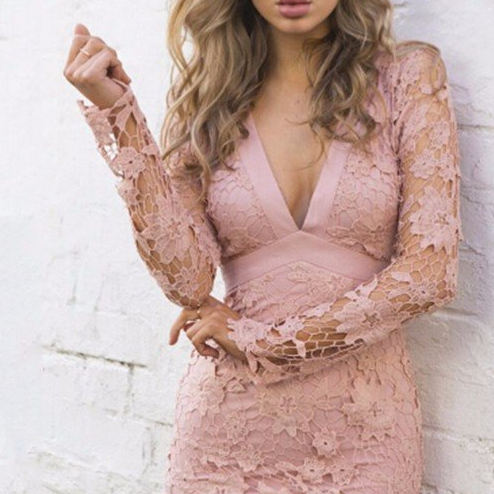 Sexy Sheath V-Neck Long Sleeves Open Back Lace Mini Homecoming Dress