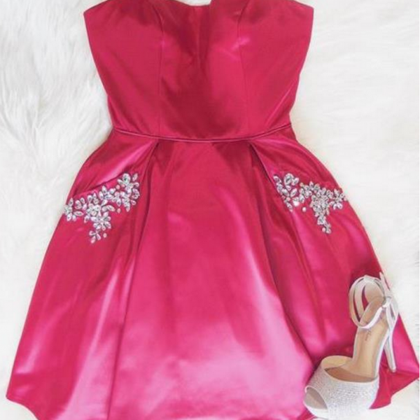Custom Made Pink Strapless Sweetheart Neckline Short Satin Bridesmaid Dress with Crystal Beaded Pockets
