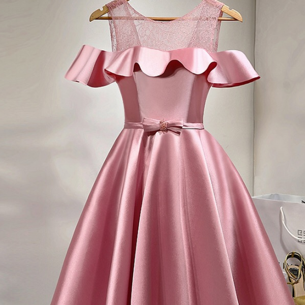 Pink Elegant Homecoming Dress, Short Bridesmaid Dress