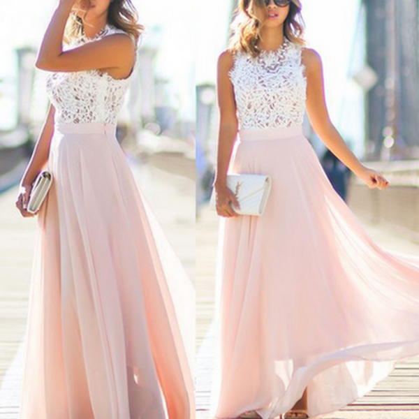 bridesmaid Dresses,Long bridesmaid dresses, pink bridesmaid dresses, unique bridesmaid dress, chiffon bridesmaid dresses,