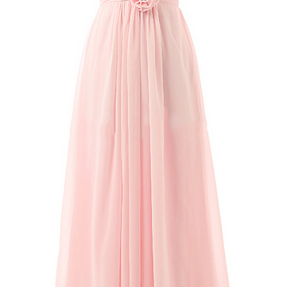 V-neck Chiffon Bridesmaid Dresses with Hand-made Flowers, Cheap Pink Bridesmaid Dress, Floor-length
