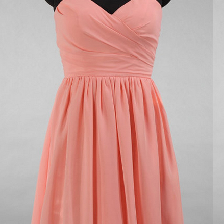 A-line Sweetheart Bridesmaid Dresses, Hot Pink Chiffon Bridesmaid Gowns, Short Bridesmaid Dresses with Soft
