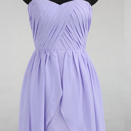 Sweetheart Bridesmaid Dresses with Soft Pleats, Strapless Chiffon Bridesmaid Gowns, Discounted Asymmetrical Gowns